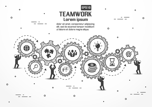 Gearwheel with teamwork template vector 05 - Vector Other free download