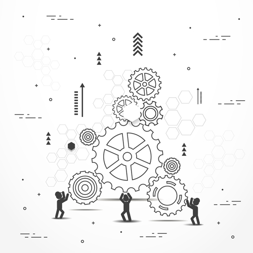 Gearwheel with teamwork template vector 06
