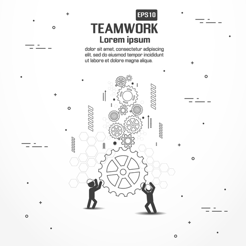 Gearwheel with teamwork template vector 07