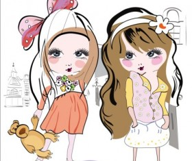 Girls kids hand drawn vector 02