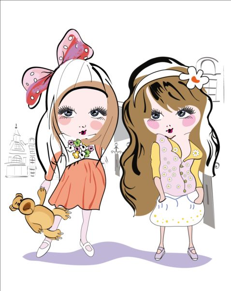 Girls kids hand drawn vector 02