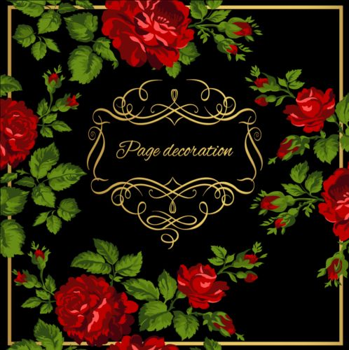 Gold calligraphy decoration with rose background vector
