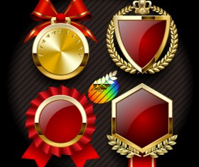 Golden medals with red labels vector