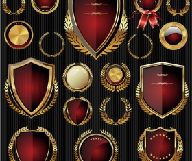 Golden with red labels and laurel wreath vector