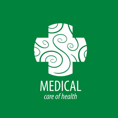 Green medical health logos design vector 01