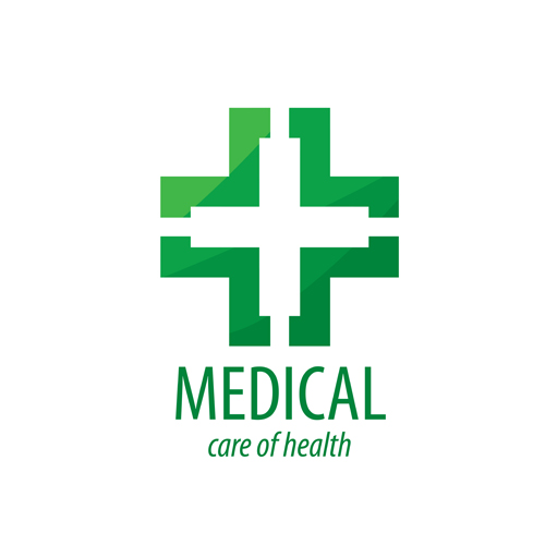 Green medical health logos design vector 14
