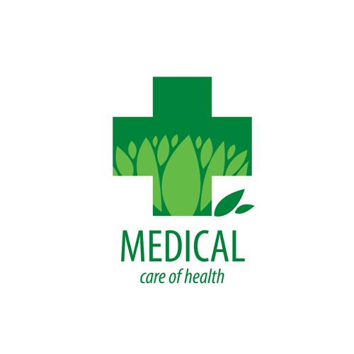 Green medical health logos design vector 15