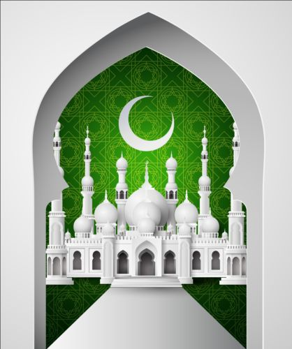 Green with white mosque background vector 01