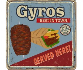 Gyros metal sign vintage rusty styles vector 01
