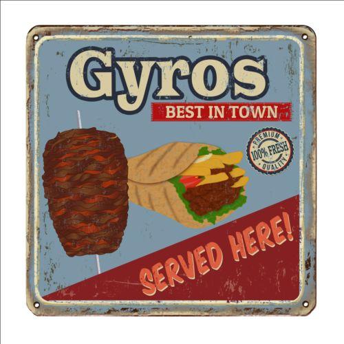 Gyros metal sign vintage rusty styles vector 01