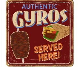 Gyros metal sign vintage rusty styles vector 03
