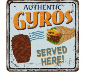 Gyros metal sign vintage rusty styles vector 04