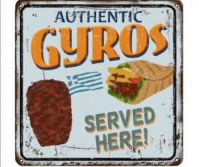 Gyros metal sign vintage rusty styles vector 04