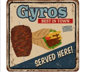 Gyros metal sign vintage rusty styles vector 05