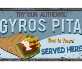 Gyros metal sign vintage rusty styles vector 06