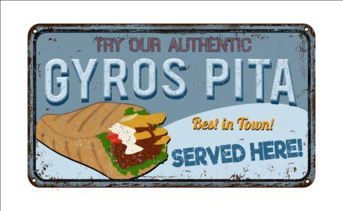 Gyros metal sign vintage rusty styles vector 06