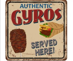 Gyros metal sign vintage rusty styles vector 07