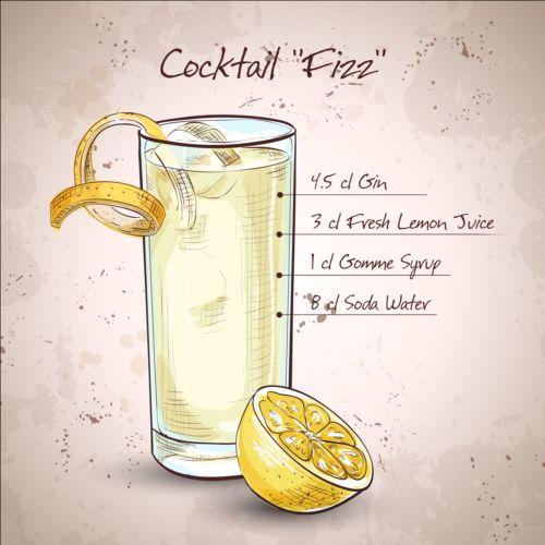 Hand drawn cocktail design vectors set 01