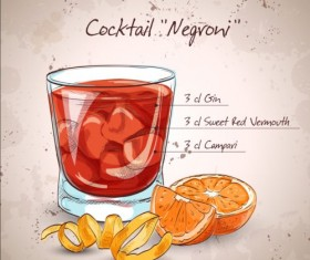 Hand drawn cocktail design vectors set 02
