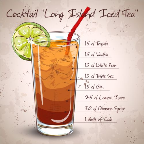 Hand drawn cocktail design vectors set 03