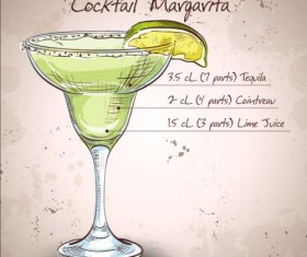 Hand drawn cocktail design vectors set 04