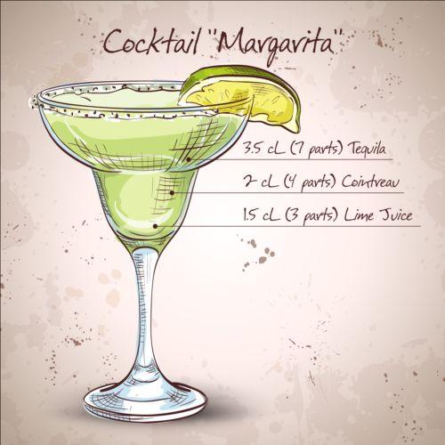 Hand drawn cocktail design vectors set 04