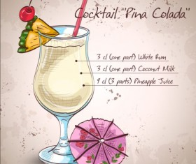 Hand drawn cocktail design vectors set 05