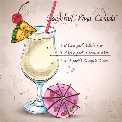 Hand drawn cocktail design vectors set 05