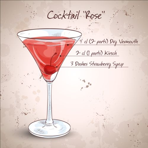 Hand drawn cocktail design vectors set 07