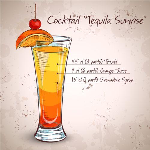 Hand drawn cocktail design vectors set 08