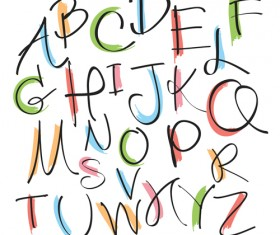 Hand drawn uppercase alphabet vector