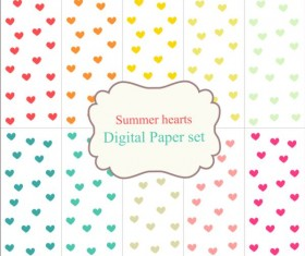 Heart paper with summer background vector 06