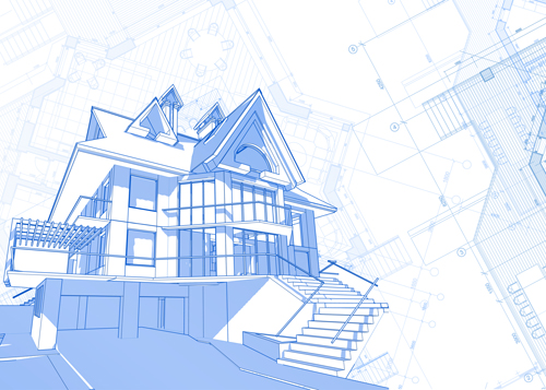 House Building Blueprint Design Vector 03