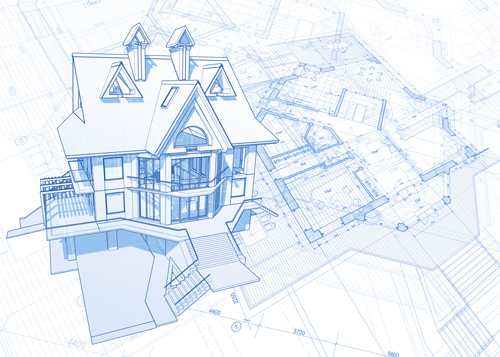 Beautiful House Building Blueprint Design Vector 05