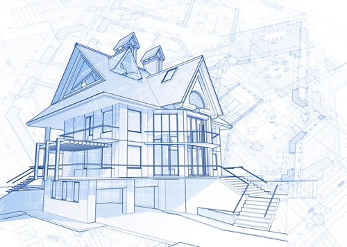 House building blueprint design vector 06 vector Blueprints of houses to build