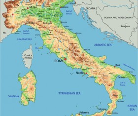 Italy physical map vector graphics