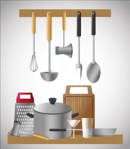 Kitchen tools vector illustration set 02
