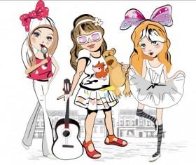 Little girl sing vector 01