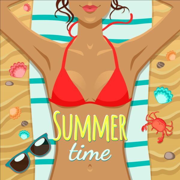 Long haired girl with summer background vector 04