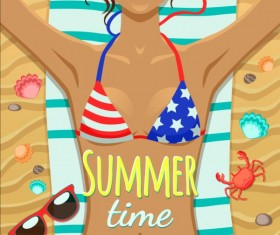 Long-haired girl with summer background vector 06