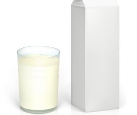 Milk Carton package with glass cup vectors 01