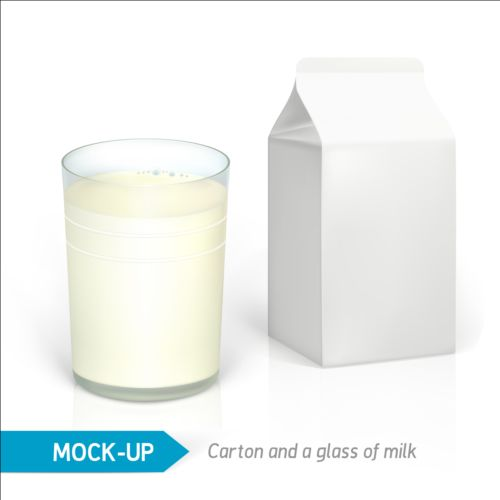Milk Carton package with glass cup vectors 02