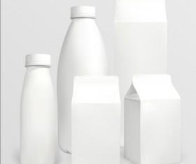Milk bottle with milk carton package vectors 01