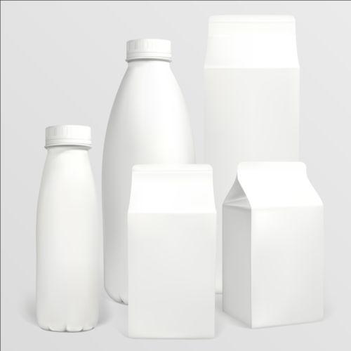 Milk bottle with milk carton package vectors 01 free download