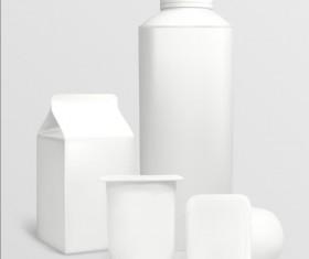 Milk bottle with milk carton package vectors 02