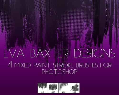 Mixed paint stroke photoshop brushes