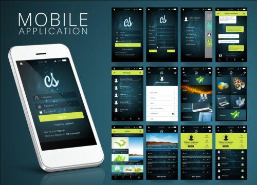 Mobile application theme design vector 01