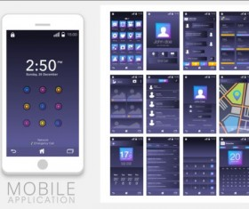Mobile application theme design vector 02