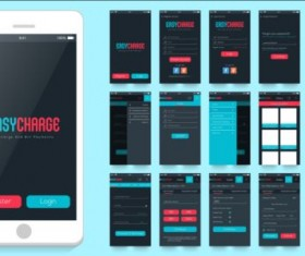 Mobile application theme design vector 03