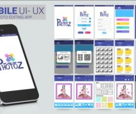 Mobile application theme design vector 07